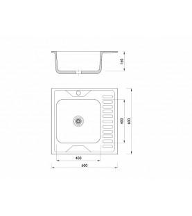 Мойка накладная 606016/0,6 1Ч1К (левая)