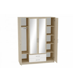 Шкаф 4-х створчатый Сопрано ШК-224 с зеркалами и 2-мя ящиками